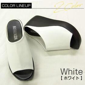 【ホワイト 37(約23.5cm)】厚底レザーサボ