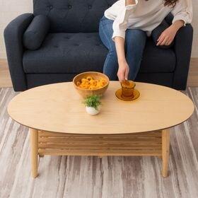 棚付き折りたたみテーブル【オーバルタイプ】 アッシュ
