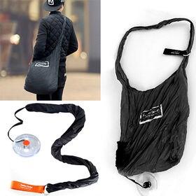 コンパクト買い物バッグ(ブラック) | 斜め掛けで使えるから、重い荷物も持ち運び楽々◎