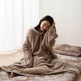 【グレージュ】プラス2℃の吸湿発熱かいまき毛布
