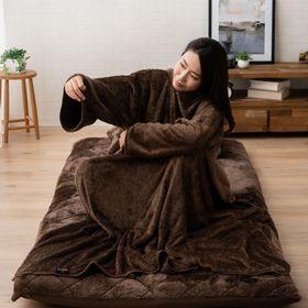 【ブラウン】プラス2℃の吸湿発熱かいまき毛布