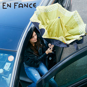 【ライム×チェック】逆さに開く2重傘 | 花のつぼみのように逆さに開くので、車の乗り降りの際に活躍。シートも濡らしません。