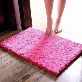 【ピンク】さらさら 速乾 マイクロファイバー バスマット 洗...
