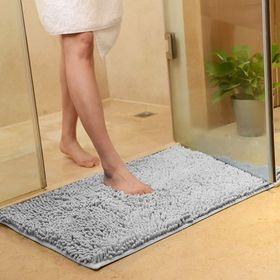 【グレー】さらさら 速乾 マイクロファイバー バスマット 洗...