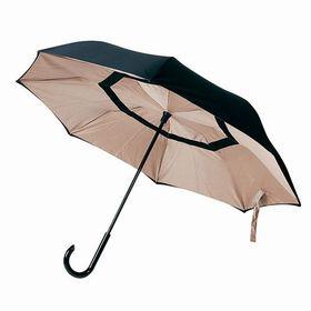 【アーモンド×ブラック】逆さに開く2重傘 | 花のつぼみのように逆さに開くので、車の乗り降りの際に活躍。シートも濡らしません。