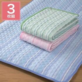 色・柄おまかせ 爽やか綿しじら織敷きパッド3色組