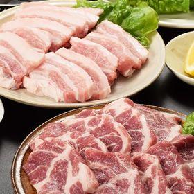 【600g】九州産黒豚焼肉2種セット(バラ300g、肩ロース...