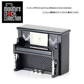 ミニチュア 置時計 クロック ピアノ ブラック 黒 楽器/C...