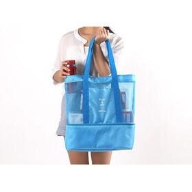【ブルー】クーラーBOX付き メッシュトートショルダーバッグ
