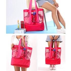 【ピンク】クーラーBOX付き メッシュトートショルダーバッグ