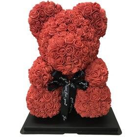 【レッド】ソープフラワー テディベア形の花