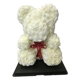 【ホワイト】ソープフラワー テディベア形の花