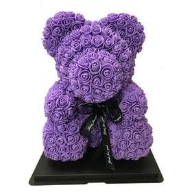 【パープル】ソープフラワー テディベア形の花