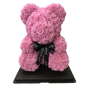 【ピンク】ソープフラワー テディベア形の花