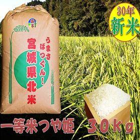 【30kg】宮城県産 つや姫玄米(特別栽培)
