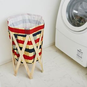 【チェック×ナチュラル】Laundry Hamper ランド...