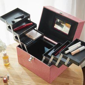【ピンク】レザー調トレイ付きコスメボックス