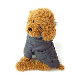 【グレー/M】犬 服 犬服 犬の服 モッズコート ジャケット...