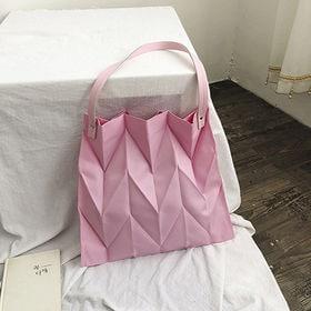 【ピンク】立体的なシワ加工バッグ