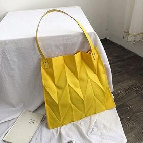 【イエロー】立体的なシワ加工バッグ