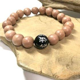 数珠 ローズウッド オニキス 梵字 銀字彫り ブレスレット