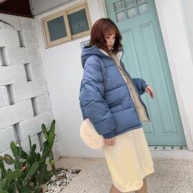 【ブルー/M】フード付き中綿ブルゾン