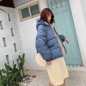 【ブルー/L】フード付き中綿ブルゾン