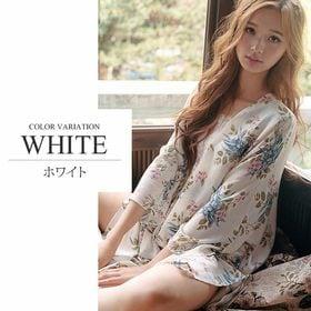 【ホワイトM】花柄ルームウェア上下セット【vl-5134】