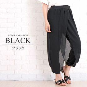 【ブラック XL】ワイドパンツ