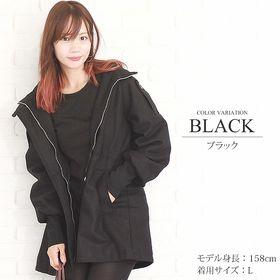 【ブラック M】フード付きリブニットコート 【vl-5104...