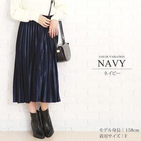 【ネイビーF】ウエストゴムプリーツスカート 【vl-5315...