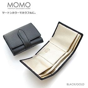 【ブラック】MOMO 三つ折り財布 レディース 牛革 エンボ...