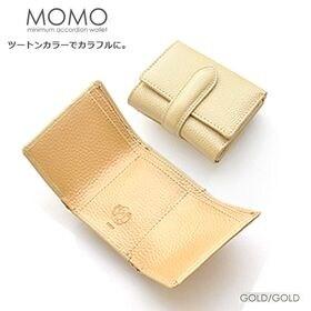 【ゴールド】MOMO 三つ折り財布 レディース 牛革 エンボ...