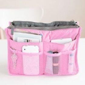 【ピンク】バッグインバッグ インナーバッグ 散らかるカバンの...