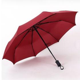 【ワインレッド】折りたたみ傘 自動開閉 男女兼用 日傘 雨傘 晴雨兼用 | 片手で押すだけ!ワンタッチ自動開閉