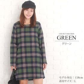 【グリーンM】チェック柄Aラインワンピース【vl-5140】...