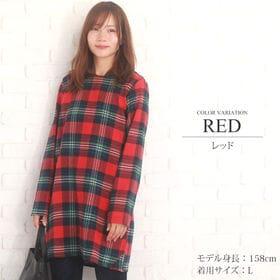 【レッドXL】チェック柄Aラインワンピース 【vl-5140...