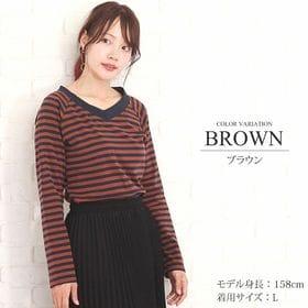 【ブラウンL】ボーダーカットソー【vl-5301】