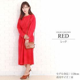 【レッドXL】ポケット付き長袖ワンピース【vl-5297】