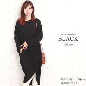 【ブラックM】ポンチョ風レディースワンピース【vl-5296...