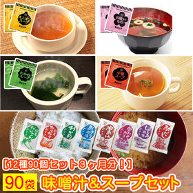 【計90食】国産 生味噌汁&スープセット(種類ランダム)