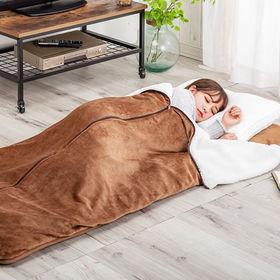【ブラウン】もこもこ毛布付き ごろ寝長座布団