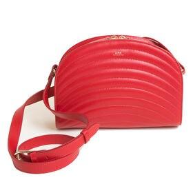 [A.P.C.]ショルダーバッグ レッド HALF MOON SHOULDER BAG | 丸みのある女性らしいデザインのショルダーバッグ!カジュアルからきれいめスタイルまで◎