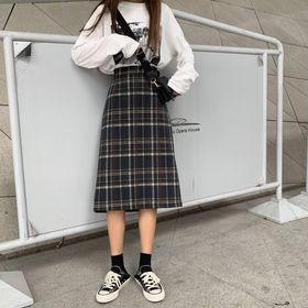 【ブラック/S】チェック柄 ミディスカート  7058