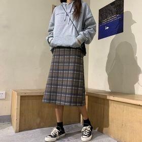 【ブラウン/S】チェック柄 ミディスカート  7058