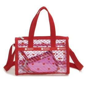 レッド[LeSportsac]ハンドバッグ CLEAR MINI WEEKENDER | 持つだけで今っぽくなれるクリアバッグ!デイリーに丁度良いコンパクトなサイズ感が嬉しい♪