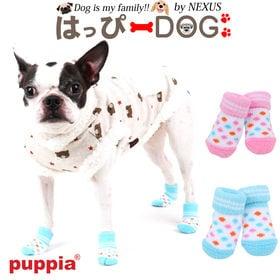 【ブルー/L】犬靴 靴 靴下 滑り止め ドット柄