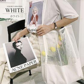 【ホワイト】メッシュ編みトートバッグ