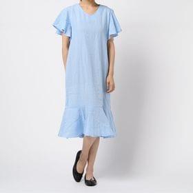【ブルー/F】切り替え チェック ワンピース 6538