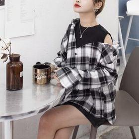 【ブラック/F】チェックデザインシャツ  5195